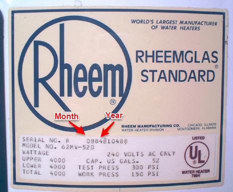 Rheem rating plate